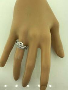 14kt White Gold Diamond Engagement Ring & Wedding Band Set 0.65ct