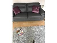 2 x grey Italian leather sofas. 10 months old. Excellent condition