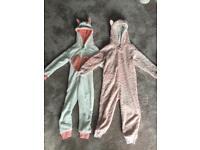 2x fleece all in one sleepsuits