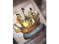 Disney Peter Pan never land you can fly musical pirate ship/ snow globe