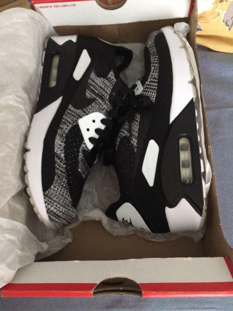 "newest ff1f4 c0372 NIKE AIR MAX 90 ""OREO"" ULTRA 2.0 FLYKNIT TRAINERS. (Brand New!) 
