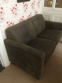 sofa and two arm chairs in brown Nubuck