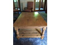 Attractive large coffee table made from old pine