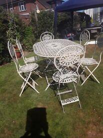 Metal garden furniture.