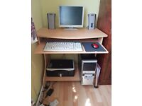 MONITOR, PRINTER, KEYBOARD, SPEAKERS, SYSTEM UNIT ALL WITH WORK DESK