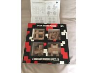4 CLASSIC WOODEN BRAIN BUSTING PUZZLES