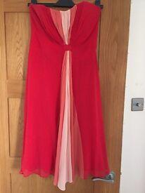 COAST SIZE 14 RED STRAPLESS DRESS