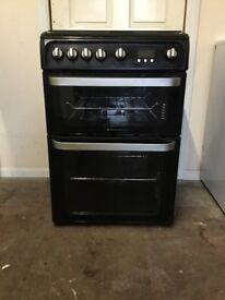 Hotpoint ultima gas cooker 60cm black FSD double oven 3 months warranty free local delivery!!!!!