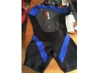 Blue and black neoprene wet suit