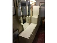 Vintage high gloss dresser with mirror and chester drawers set. Immaculate condition.
