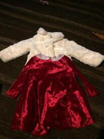 12-18 months 1 to 1 and a half years girl's red Christmas dress and white furry coat