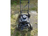 black self propelled lawn mower