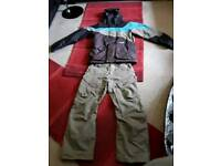Men's Volcom Snowboarding jacket and salopettes,