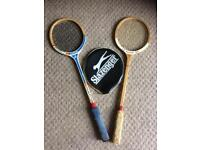 2 wooden squash rackets, Emrik and Dunlop. 1 cover