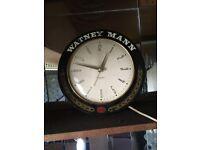 Wall clock electric Watney Mann