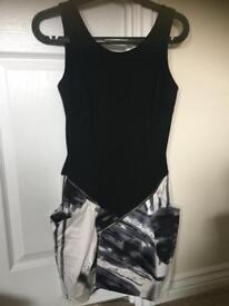 River island black and white fitted dress