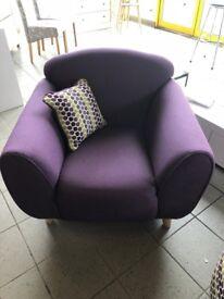 Armchair In Plum Fabric