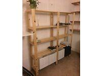IKEA SHELVING UNIT 2 SECTIONS HEJNE SOFTWOOD / HOUSE CLEARANCE SALE