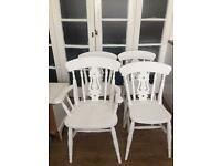 SET 4x SOLID OAK SHABBY CHIC CHAIRS FREE DELIVERY 🇬🇧no TABLE