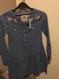 H&M girls denim shirt dress bnwt age 7-8