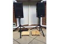 QSC HPR152i 1000w RMS powered speakers and dollies, very light use. Great for bands.
