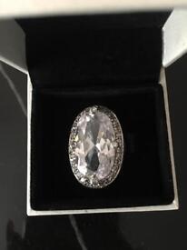 Large crystal clear pandora ring. Size M