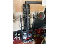 Weight bench and selection couple of bars and weights