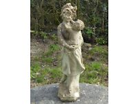 Vintage Cast Stone Garden Statue Mother & Child Well weathered 69cm Tall (1090)