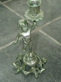 Antique Brass Cherub / Cupid Candlestick / Candle Holder