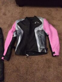 Ladies motorcycle leather jacket and trousers