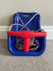 HIKS Red and Blue Toddler Swing Seat with Adjustable Ropes