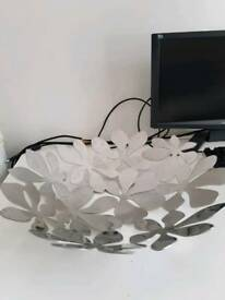 Ikea stockholm fruit bowl decorative silver flower metal