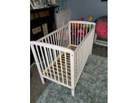 White baby cot with spring mattress immaculate condition