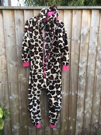 Next Faux Leopard Onesie. Good used condition. Labelled for 11 yr old 146cm