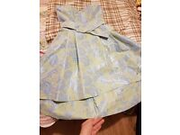 green-blue dress, SIZE S, Long on the back, used once