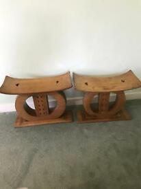 Pair of vintage solid wood stools / side tables / bedside cabinets