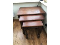 Dark dining table, 4 chairs, display cabinet & 3 side tables - ideal for shabby chic project