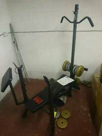 Pro power weight bench, free rack and lat pull down