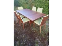 Danish rosewood dining table and chairs