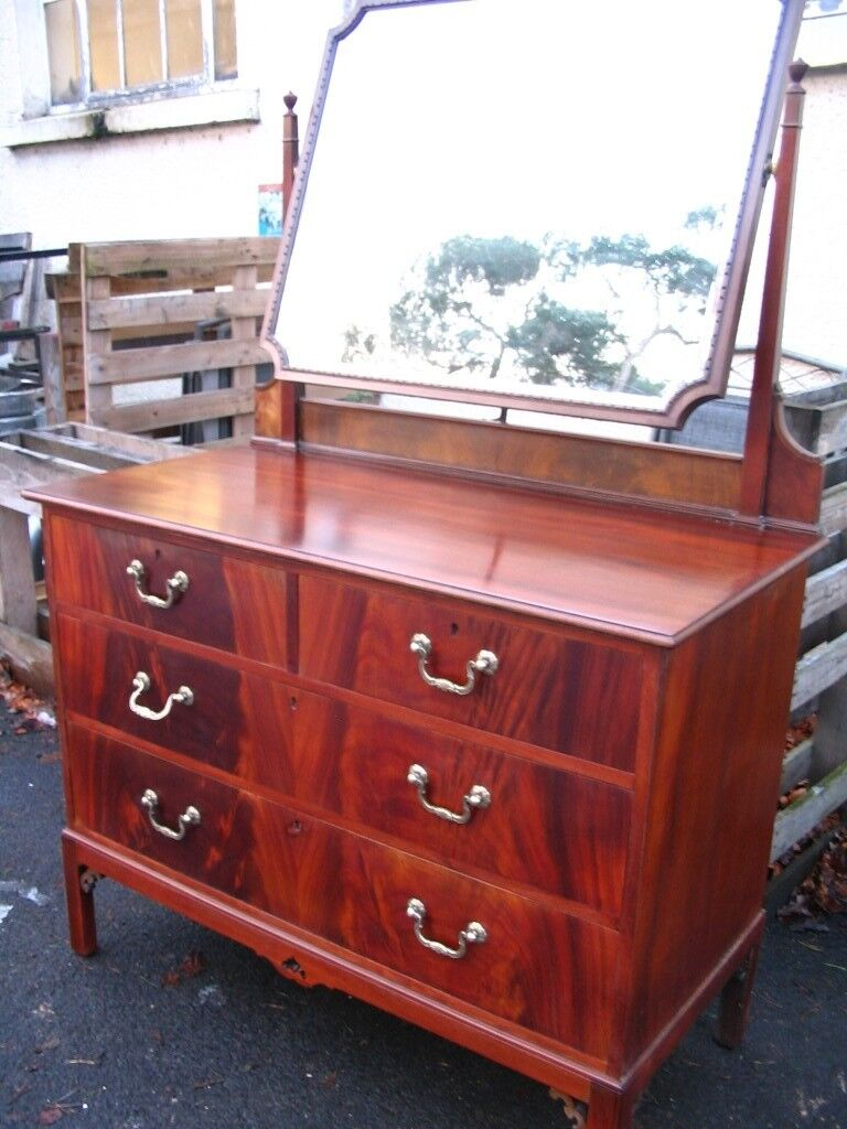 Dressing table, mirror, glass topped chest of drawers, vintage dresser, solid mahogany wood, c.1930