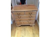 Solid pine chest of 5 drawers shabby chic look