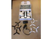 Parrot Bebop 2 Drone, two spare batteries and a set of spare propeller blades and accessories