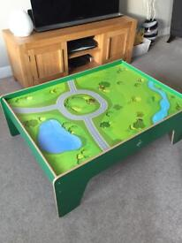 Carousel large play table with wooden train set