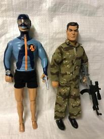 "Vintage action man 1990s hasbro toy soldier & Diver men 1/6 12"" figures"