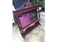 Oak ornate antique mirror/dresser top