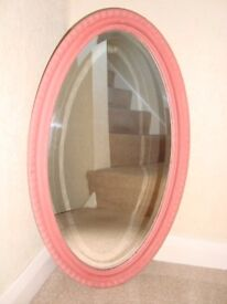 Shabby Chic Vintage wooden mirror painted in Annie Sloan 'Scandinavian Pink'