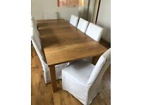 Habitat Oak Dining Room Table and 8 Chairs with Covers