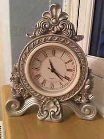 Silver Elegant Rococo Clock