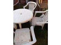 Free - White Plastic Table with 4 chairs