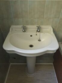 X2 bathroom basins, pedestals and taps - used